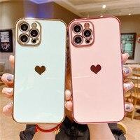 Funda de teléfono galvanizada con marco de corazón de amor para iPhone 11, 12 Pro, Mini Max, X, XR, XS, Max, 7, 8 Plus, SE 2020, cubierta protectora a prueba de golpes