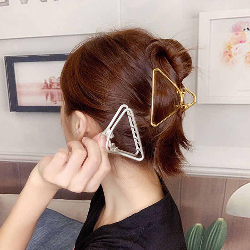 Sıcak moda geometrik üçgen/kalp alaşım saç pençeleri yengeç saç klipleri kadın makyaj tokalar altın gümüş kadın saç aksesuarları