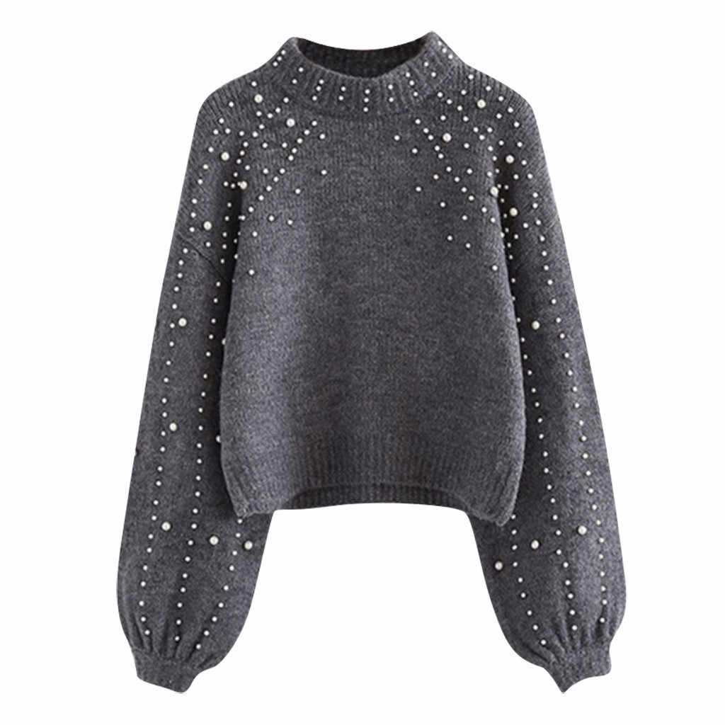 Woman Knitting Sweater New Sexy Long Sleeve Pearl Thick Turtleneck Solid O-Neck Pullover Autumn Winter Fashion Casual Blouse#A