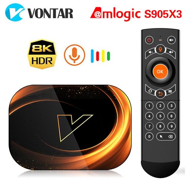 2020 VONTAR X3 TV kutusu Android 9 4GB 128GB 8K Amlogic S905X3 çift Wifi 1080P 4K Youtube Android 9.0 Set üstü kutu 4GB 64GB 32GB