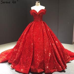 Image 1 - דובאי ירוק תחרה עד נצנצים חתונה שמלות 2020 מתוקה סקסי יוקרה כלה שמלות Serene היל HM66742 תפור לפי מידה
