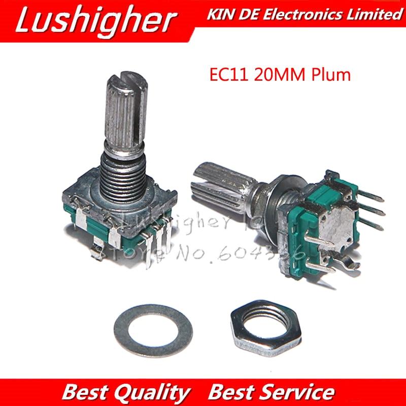 5PCS EC11 20mm Plum Hle Rotary Encoder Coding Switch Digital Potentiometer Switch 5 Pin DIY
