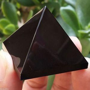 Pyramid Crystal Crafts Black Natural Obsidian Quartz Crystal Ornament Home Decor Car Decor Dashboard Decor Ornaments New Arrival
