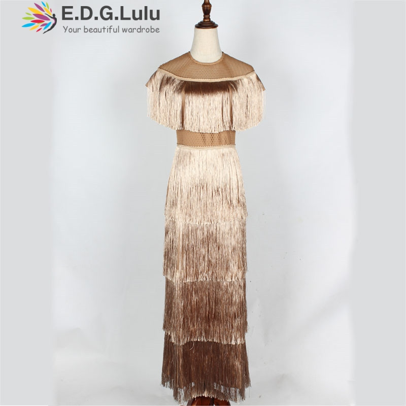 EDGLuLu new arrival vintage elegant <font><b>sexy</b></font> party <font><b>club</b></font> <font><b>wear</b></font> beach fairy sundress runway women summer <font><b>dress</b></font> 2019 tassel long <font><b>dress</b></font> image