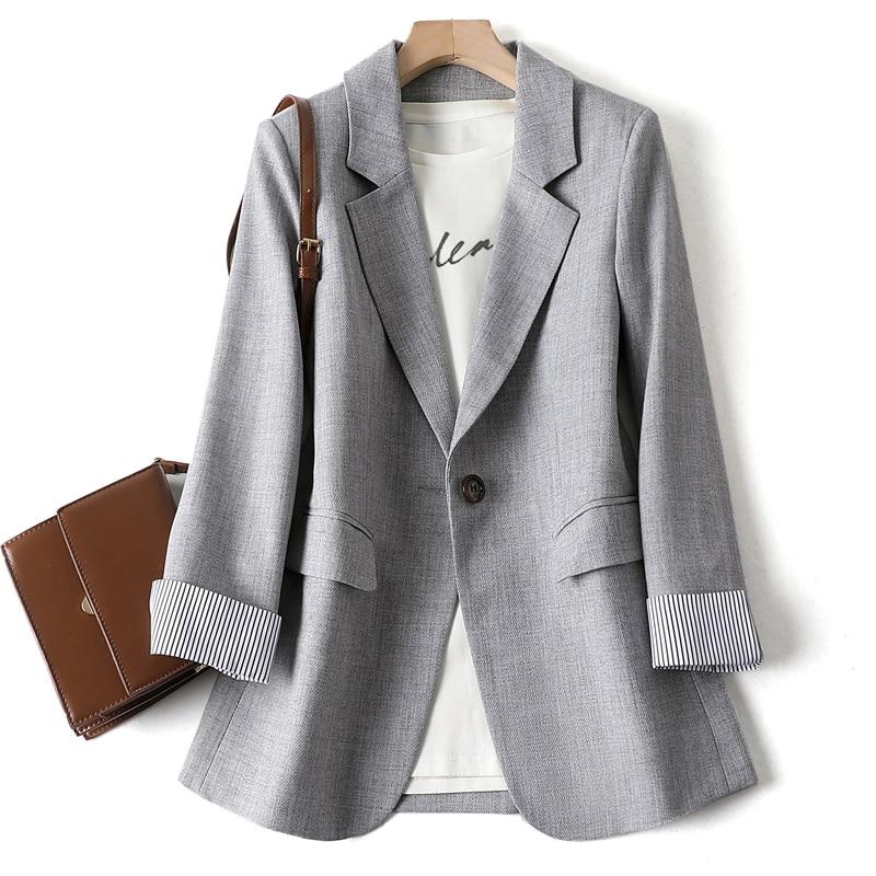 Casual Single Breasted Women Jackets Notched Collar Spring Women Blazer Jacket Autumn Female Outerwear Elegant Ladies Coat 2020