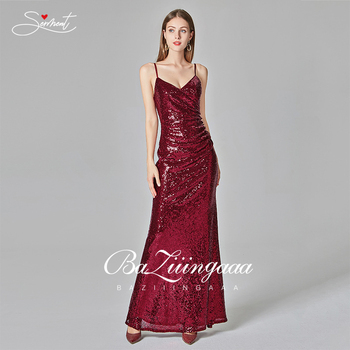 New Spot Smooth Sequins V-neck Simple Gradient Burgundy Red Mermaid Evening Dresss Sexy Backless