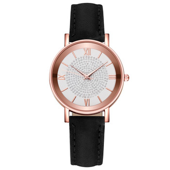 Roman Numerals Women Watches Rose Gold Female Leather Quartz Wrist Watch Casual Ladies Watch Zegarek