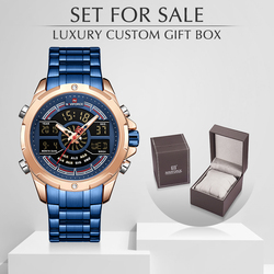 NAVIFORCE męski zegarek z pudełkiem męskie sportowe zegarki kwarcowe zestaw na sprzedaż mężczyźni ze stali nierdzewnej LED cyfrowy zegar męski wodoodporny|Zegarki kwarcowe|   -