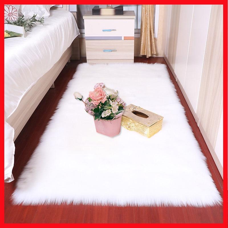 Sholisa Faux Fur Area Rug Fluffy Carpet Rectangle Square Shape 6cm Pile For  Living Room Bedroom Sea Set Home Deco