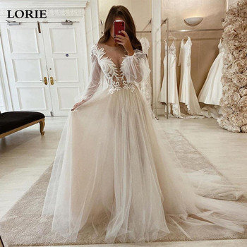 LORIE Lace Wedding Dresses 2020 Long Puff Sleeve Appliques A Line Bride Dress Princess Wedding Gown Free Shipping robe de mariee front slit appliques wedding dresses 2019 off the shoulder a line chiffon bride dress free shipping wedding gown robe de mariee