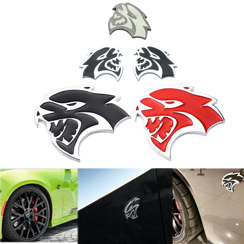 2 Black SRT Hellcat Emblems For Dodge Challenger Charger Fender Badge Decal