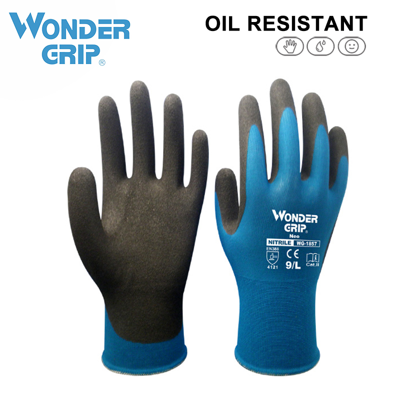 Wonder Grip Work Gloves For Nylon Spandex Wrapped With Foam Nitrile Coated Anti-skid 18 Gauge Working Gloves