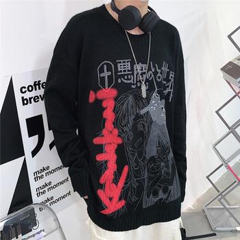 Nowy jesienny sweter damski Streetwear sweter Harajuku Cartoon Anime sweter luźny sweter z okrągłym dekoltem Vintage męski sweter tanie i dobre opinie PENGANCUO COTTON Akrylowe CN (pochodzenie) Wiosna jesień Komputery dzianiny REGULAR O-neck Osób w wieku 18-35 lat Swetry