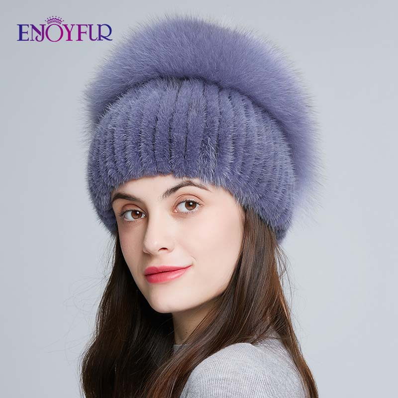 Image 3 - ENJOYFUR Real Fox Fur Hat Female Natural Mink Fur Women Winter Hats Vertical Rhinestones High Quality Beanies Fashion Caps-in Women's Skullies & Beanies from Apparel Accessories