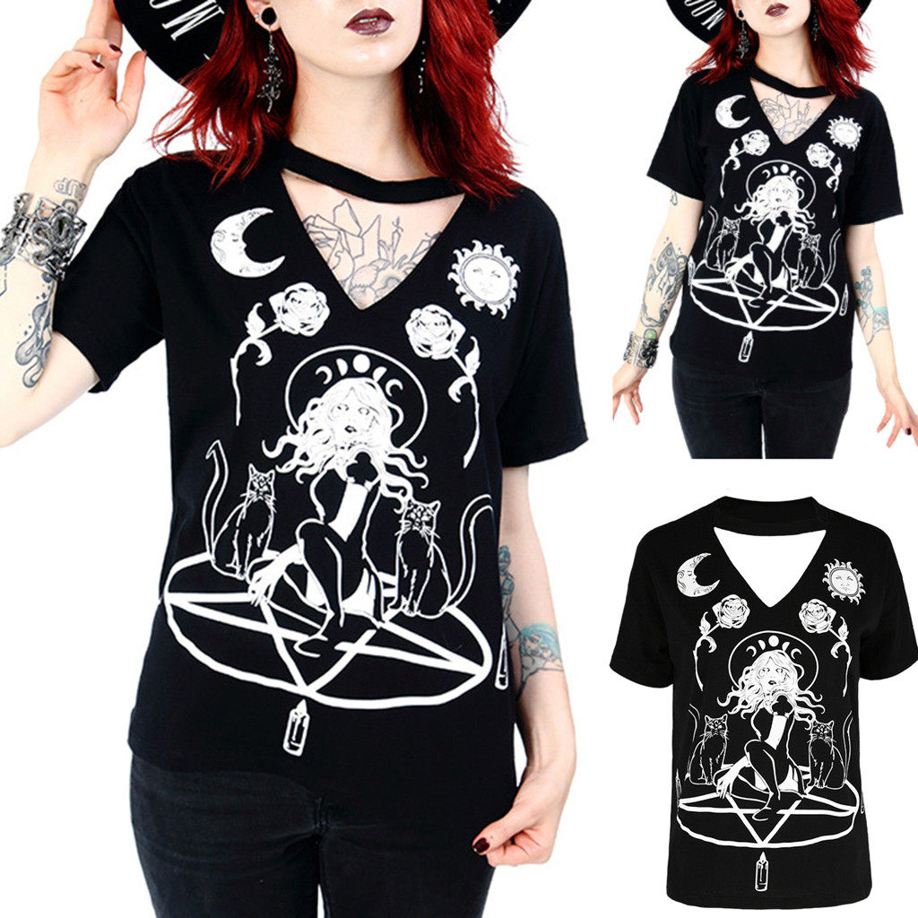 Gothic Symbol Moon Pattern   T  -  shirt   Women Summer Short Sleeve Punk Style Tops Tee witch Symbol   T     Shirt   for Goth Girls Plus Size