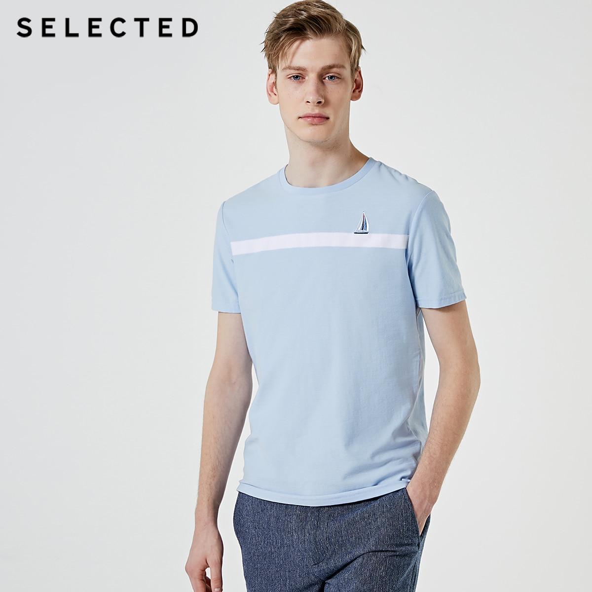 SELECTED Men's 100% Cotton Round Neckline Short-sleeved T-shirt S|419201563