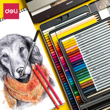 Deli-conjunto de lápis colorido de pintura de arte, lápis coloridos de dupla finalidade à base de água, lápis profissionais à base de óleo, 24/36/48/72