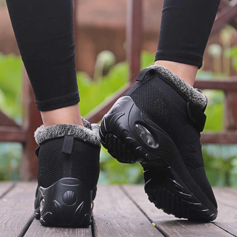 Bộ Lông Mùa Đông Giày Nữ Ấm Áp Cao Su Mắt Cá Chân Giày Dép Nữ Đế Độn Cổ Botas Mujer Dành Cho Nữ Ấm Áp Size Lớn 42