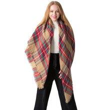 2020 luxury brand ladies winter plaid scarf warm female cashmere shawl scarf scarf tassel scarf ladies business scarf Pashmina