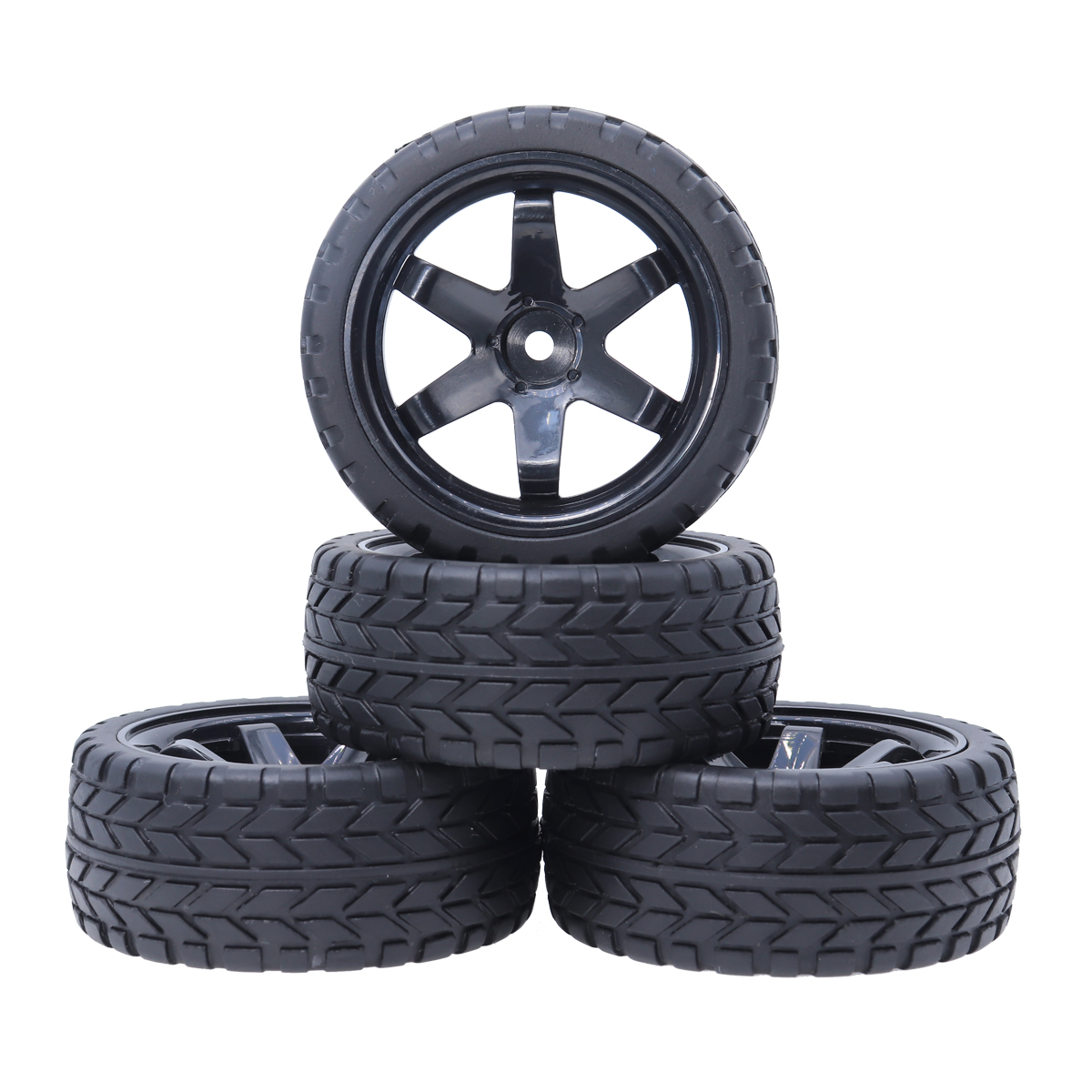 4Pcs 1/10 On Road Tires 64mm Tyres <font><b>6</b></font> <font><b>Spoke</b></font> 12mm <font><b>Wheel</b></font> hub for 1:10 HSP HPI SXC10 RC4WD Traxxas On-Road Touring Car image