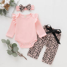 2019 New Toddler Girl Autumn Clothes Baby Long Sleeve Romper+Pink Leopard Print Pants+Hairband Outfits conjunto infantil menina(China)