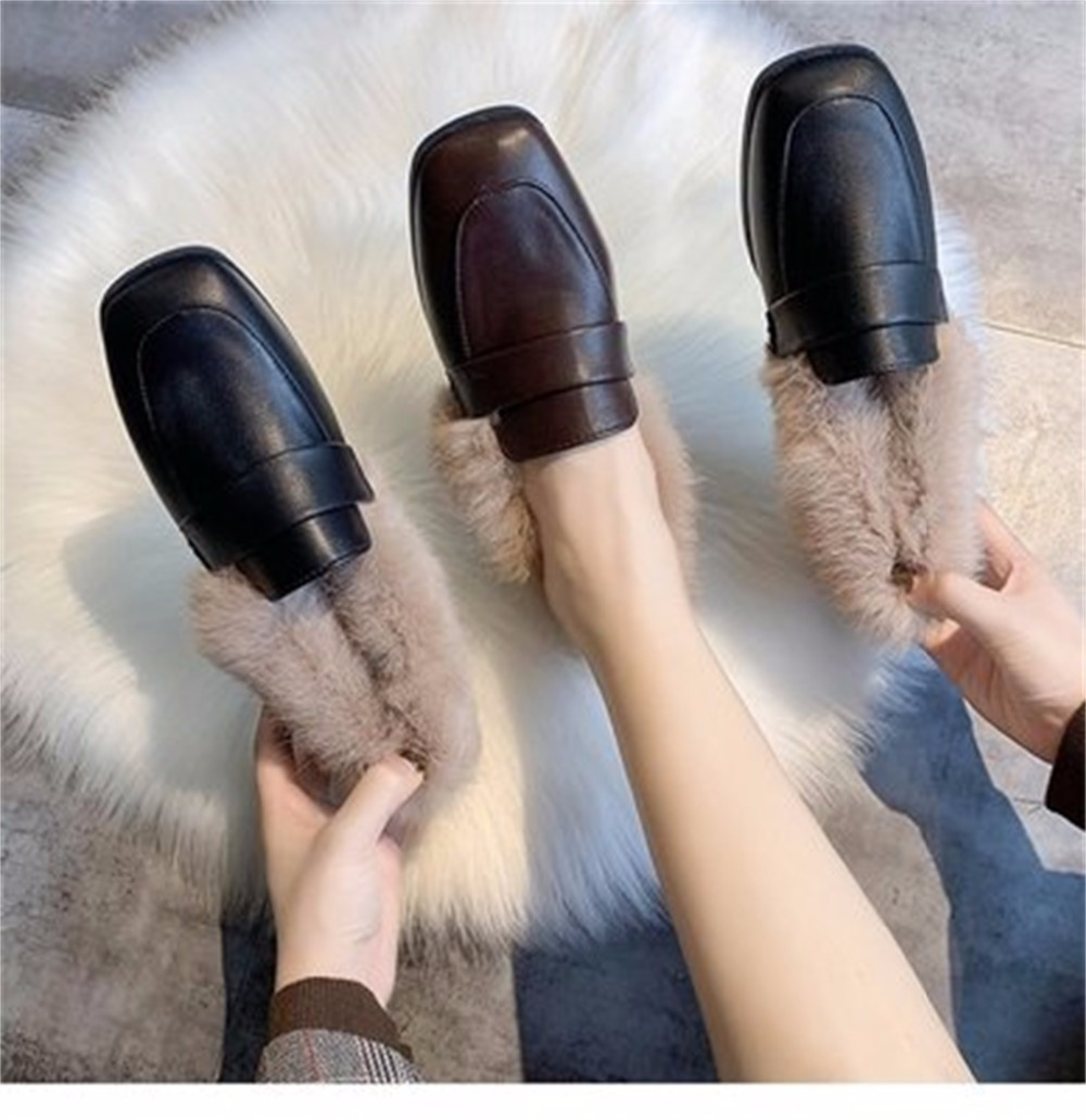 Autumn winter casual women shoes fluffy warm fluffy lining fashion black brown square toe women's shoes 38