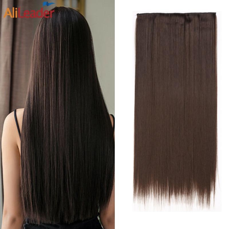 Alileader extensiones de cabello con Clip puro liso 5 Clip en extensión de cabello marrón negro 44 colores peluquín falso sintético para mujeres