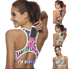 Women's Sports Bra With Mobile Phone Pocket Printed Yoga Vest Fitness Running Gym Shockproof Ladies Bra Seamless Sports Tops