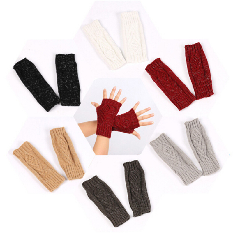 New 1 Pair Autumn Winter Women Warm Knitted Arm Fingerless Gloves Long Stretchy Mittens Men Women Hand Arm Warm Gloves