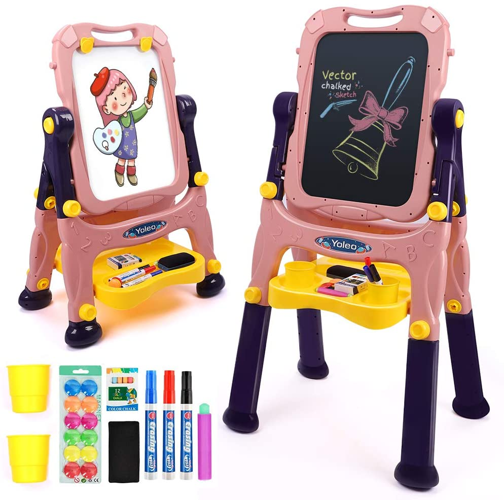 2in1 Children's Easel Double-Sided Magnetic Painting Board Portable Removable Height Adjustable Rotatable Writing Board Home