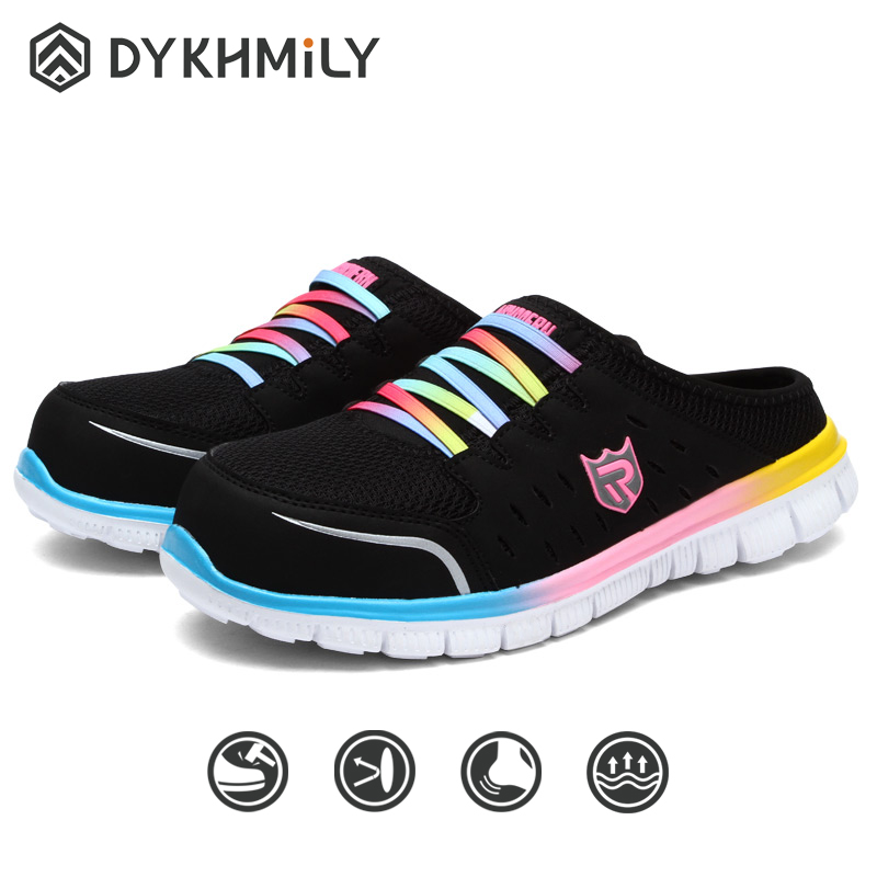 DYKHMILY Work Safety Shoes Women Steel Toe Fly Woven Breathable Comfortable Lightweight Sandals Outdoor Women Casual Shoes