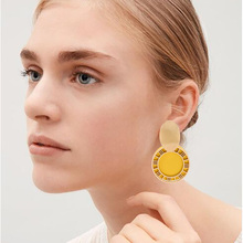 New Fashion Personality Exaggerated Earrings Geometric Round Acrylic Pendant Female Jewelry Ladies Wedding Gift