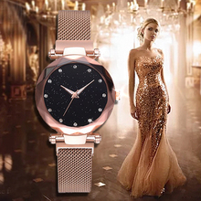 relogio feminino Luxury Women Watches Fashion Starry Sky Watch Mesh Band Magnetic Dress Woman