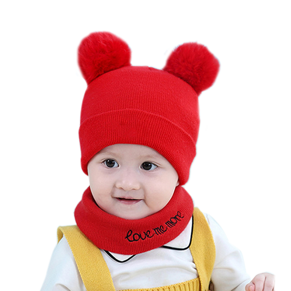 2Pcs/set Cute Hat Scarf Set For Children Baby Knitting Bear Ears Winter Warm Knit Scarves Christmas Accessories