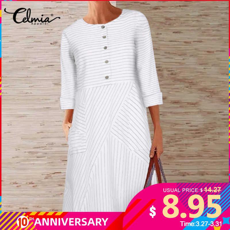 בציר נשים פסים חולצה שמלת Celmia 2020 סתיו ארוך שרוול משרד אונליין שמלה מזדמן רופף כפתור נשי Vestidos S-5XL