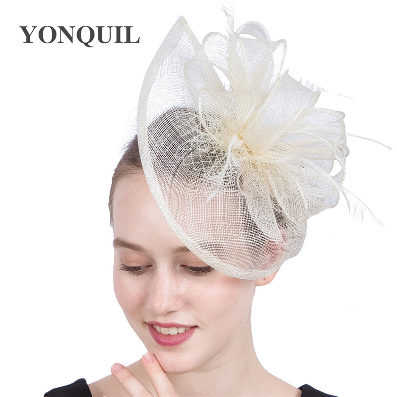 Ivory Kentucky Sinamay Fascinators Church Hats With Feather Derby Event Occasion Wedding Hair Accessories NEW ARRIVAL 20 Colors