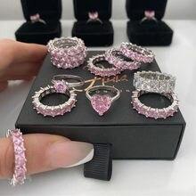2020 nuovo modo di lusso in argento Sterling 925 rosa fidanzamento fede nuziale anello di eternità per le donne regalo di natale amore gioielli Z2
