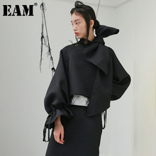 Irregular-Bow Short Jacket Women Coat Black EAM Long-Sleeve Autumn Winter Fashion Fit