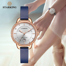 STARKING Casual Quartz Wristwatch Women Custom International Design Genuine Leather Watch Pink Analog Female Clock 3ATM