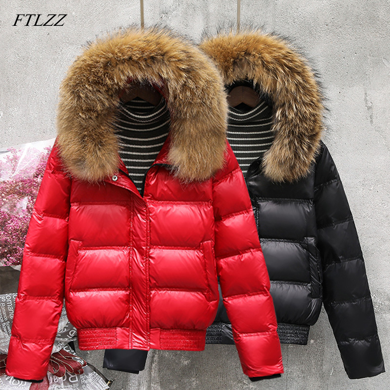 FTLZZ Winter Real Raccoon Fur   Down   Jacket Women Hooded Slim White Duck   Down   Short Parkas   Coat   Female Black Khaki Snow Outwear