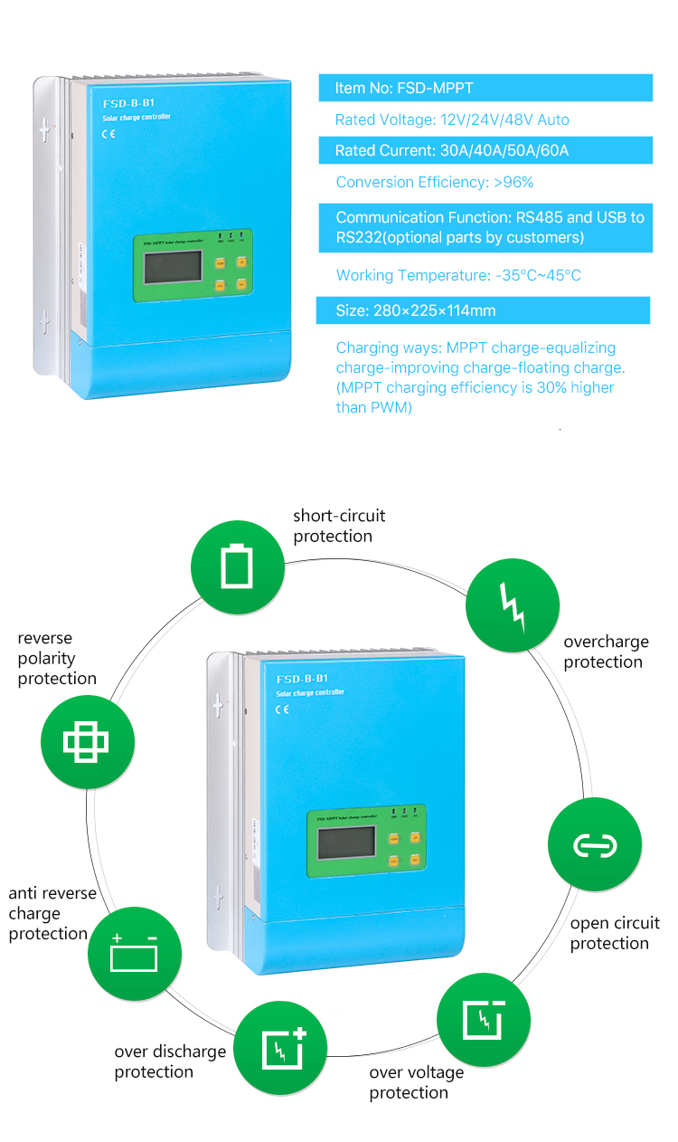 Hbb06db6a91bf43bcb2d4eb112ee2d83as - Blue Color 30A MPPT Solar Charge Controller with APP/WiFi Monitoring