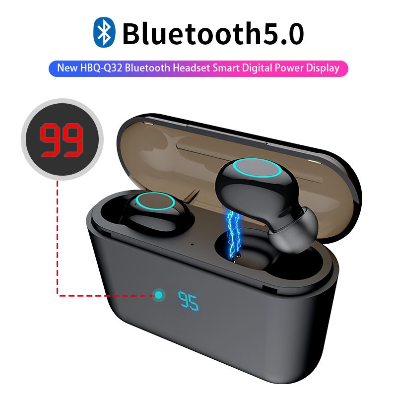 HBQ TWS Bluetooth Earphone Touch Operate Mini Earbud With Mic LED Power Display Charge Box Wireless 3D Stereo Music Play Headset