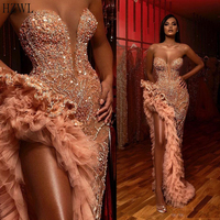 Blush Pink Crystal Beaded Mermaid Prom Dresses Sexy Sweethaeat High Side Split Evening Gown Lace Appliqued African Formal Party