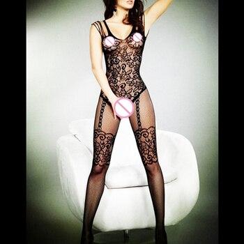 Plus Size Porno Lenceria Women Sleepwear Mesh Babydoll Open Crotch Lingerie Sexy Hot Erotic Costumes Underwear Femme Bodysuit - discount item  18% OFF Exotic Apparel