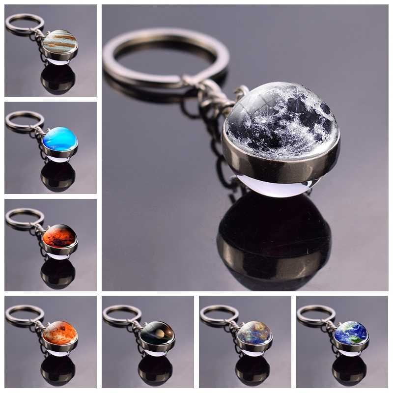 Full Moon Sphere Crystal Ball Glass keychain Handmade Double Side Glass Ball Pendant Solar System Galaxy Astronomy Jewelry
