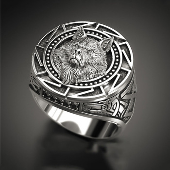 Bague homme viking loup