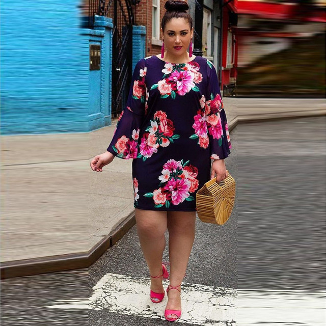 Summer Women Plus Size Floral Dress 3XL 4XL Flower Printed V Neck 5