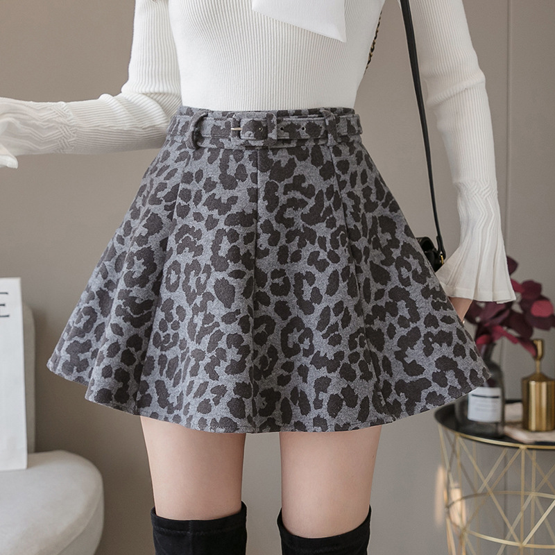 Autumn And Winter New Style Thick Leopord Pattern Woolen Eight Chip Reduction Years Leather Belt Small Full Skirt Women's WOMEN'