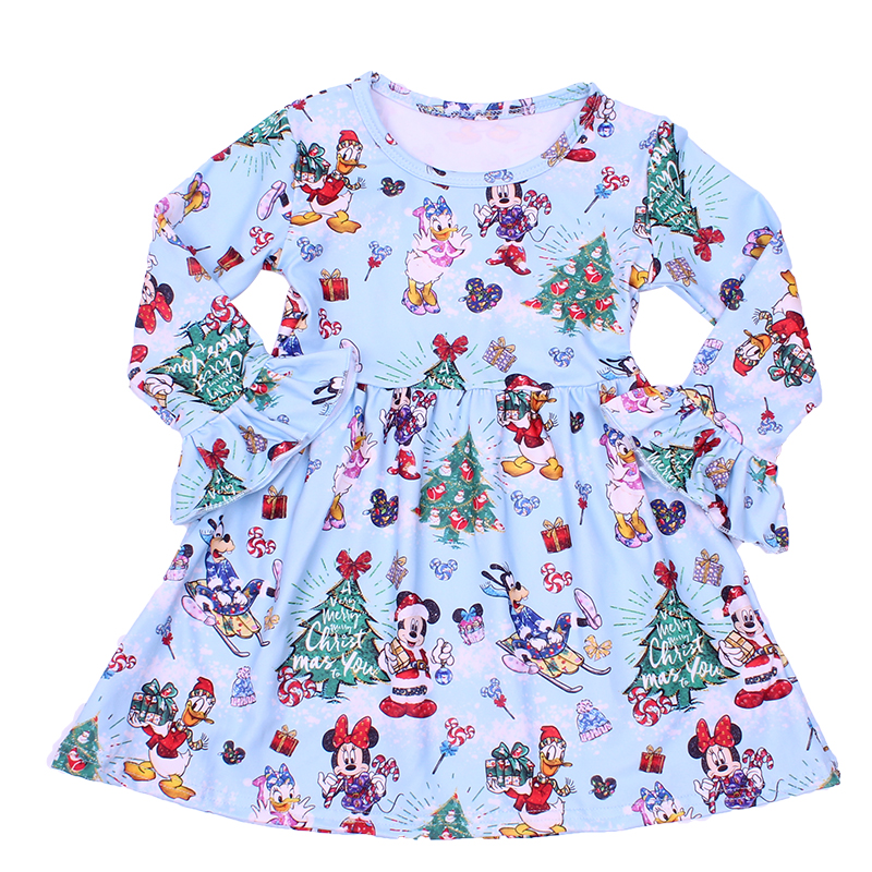 Toddler Girl Dresses Cartoon Christma Mickey Milk Silk Boutique Flare Long Sleeve Dress Winter Girls Xmas Frocks Baby Costume