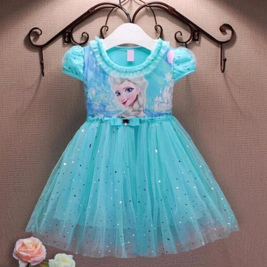 Платья для девочек, Летнее Детское платье принцессы Анны и Эльзы, костюм Снежной Королевы для косплевечерние чная детская одежда, новый год